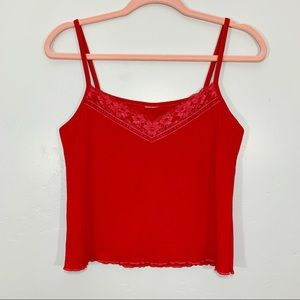 Vintage   Early 90's Red Lace Trim Crop Top Tank